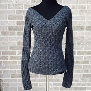 GUESS charcoal knit vneck sweater